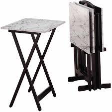 Linon Home Decor New Linon Home Decor Tray Table Set Faux Marble Brown Home Design