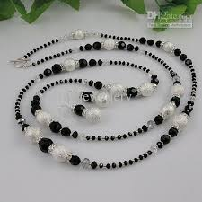 crystal bead necklace images Special design black crystal beads white silver beads necklace jpg
