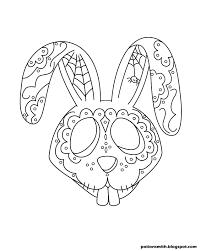 sugar bunny coloring page el dia de los muertos pinterest