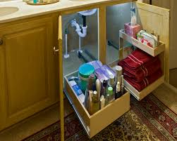 glide out shelves with risers to fit around your bathroom sink