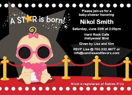 a star is born hollywood baby shower invitations shower
