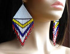 Native American Beaded Earrings Huichol Beaded Chandelier Earrings Native American Beaded Earrings