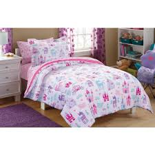 girls pink bedding sets mainstays kids pretty princess bed in a bag bedding set walmart com