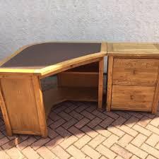 furniture varnished hickory corner desk with single drawer as