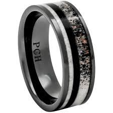 wood inlay wedding band deer antler ring black ceramic wood inlay 8mm comfort fit