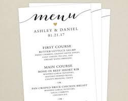 wedding reception menu and thank you card combo wedding menu