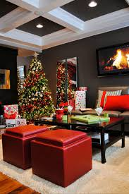 christmas design contemporary living room with coffered ceiling