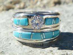 Ebay Wedding Rings by Native American Indian Navajo Wedding Rings Band Turquoise Cz