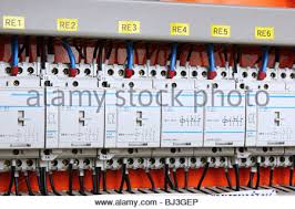color wires in a box of distribution of an electricity stock photo