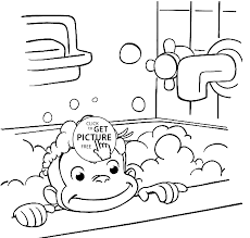 curious george coloring pages printable george is bathing coloring