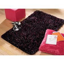 Pink And Black Rug Your Zone Faux Fur Spike Rug Black 3 U0027 X 4 U00278