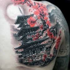 mens back shoulder japanese temple with cherry blossom