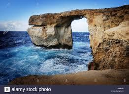 Azure Window by Rock Arch Called The Azure Window Island Of Gozo Stock Photo