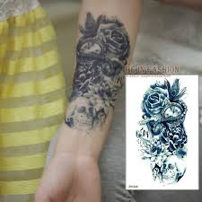 one piece compass tattoo one piece trendy temporary tattoo flower rose clock jewel death