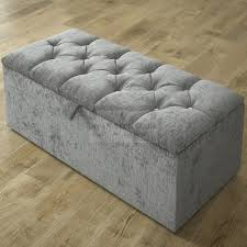 clara diamond fabric upholstered ottoman storage box and stool