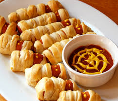 cheesy dog crescent roll mummy u2013 make easy halloween treat