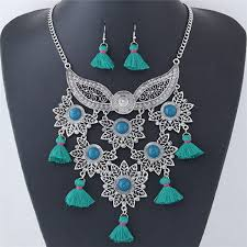 green fashion necklace images Alloy leaves and mask combo with tassels design fashion necklace jpg