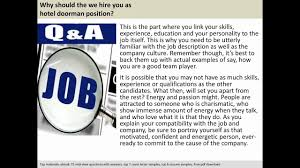 Best Resume Questions by Doorman Interview Questions U0026 Answers Youtube