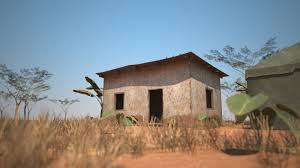 3d model 3dsmax model rural small bungalow banana trees vr ar