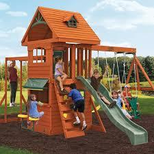 Best Backyard Swing Sets by Big Backyard Ridgeview Deluxe Clubhouse Swing Set F270855