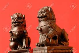 orange foo dogs foo dogs a pair of fu dogs the has his right stock