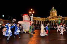 Russian New Year Decorations by Nevsky Prospekt In St Petersburg Russia