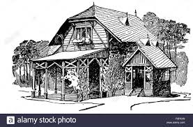 engraving of wooden country house with porch veranda small chalet