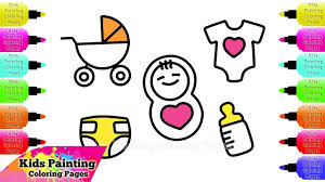 kids painting coloring pages how to draw accessories for baby