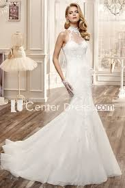 high neck mermaid lace wedding dress with appliques and keyhole