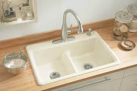 Almond Colored Kitchen Faucets Kohler K Deerfield Smart Divide Self Kitchen Sink K5838 Lg