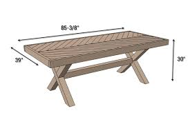 Plans For Patio Tables by Outdoor Table With X Leg And Herringbone Top Free Plans