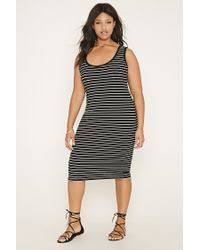 forever 21 plus size striped dress in black lyst