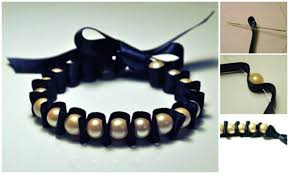 How To Make Jewelry Beads At Home - diy pearl and ribbon bracelet diy cozy home do your own