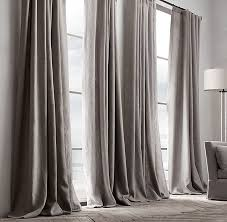 French Pleated Drapes Textured Linen Drapery