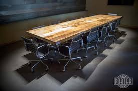 Football Conference Table Reclaimed Wood And Steel Leg Dining Or Conference Table With