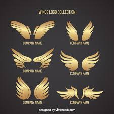 pack of logos with golden wings vector free