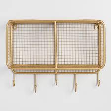 gold wire braedyn 2 bin wall storage hooks wire and gold wire
