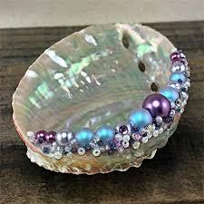 art glass skeleton ring holder images Purple teal abalone shell ring holder jpg