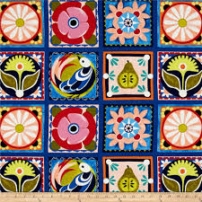 michael miller valencia spanish tile blue from fabricdotcom