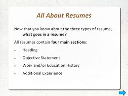 3 Types Of Resumes Resume Types