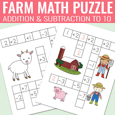 farm math puzzles addition and subtraction worksheets easy