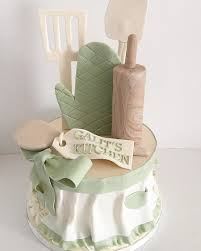 kitchen themed bridal shower cake with fondant apron rolling pin