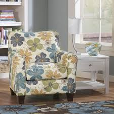 Printed Living Room Chairs Design Ideas Signature Design By Kylee Spa Blue Floral Print Accent