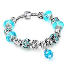 pandora bracelet silver bangle images Accessories quot silver crystal charm bracelets for women with blue jpg