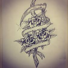 traditional sickle roses sketch by ranz