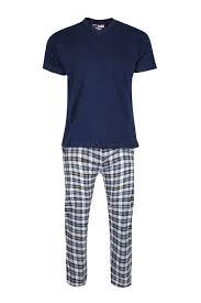 Mens Cap Sleeve Side Pocket Pant Round Neck Tartan Print Pyjama