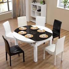 Retractable Dining Table Table Chairs Modern Retractable Folding Solid Wood 6 People 8