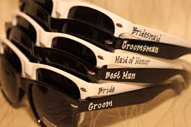 personalized sunglasses wedding favors set of wedding favor personalized black white combo sunglasses