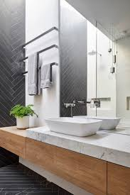 the 25 best shower over bath ideas on pinterest bathrooms mark st fitzroy north ensuite bathroom chevron tile pattern timber joinery marble