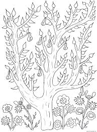 cute tree with leaves and pears olivier coloring pages printable
